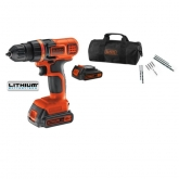 Trapano avvitatore 18V 1.5Ah 2 Batterie + 10 accessori + Borsa Black & Decker