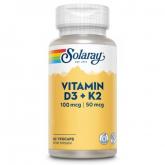 D-3 & K-2 (MK7) Solaray, 60 capsule vegetali