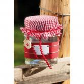 Coberta de tecido vermelha para frasco de doce, x4