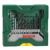 Conjunto Bosch mini X-line de 15 brocas para madera, piedra y metal