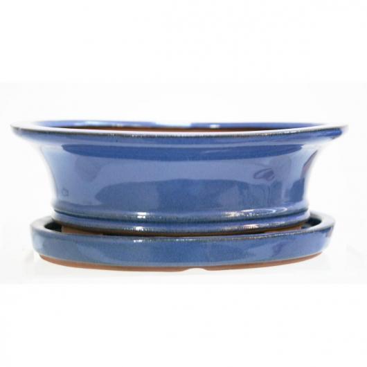 Pot à bonsaï Basic ovale bleu 20 cm + plateau