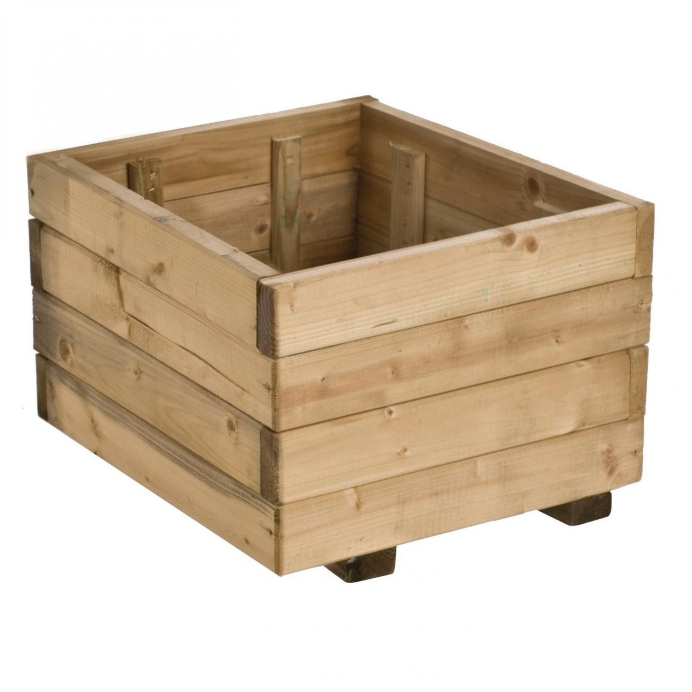 Jardinera madera cuadrada 30l por 19 90 en planeta huerto for Jardineras con palets de madera