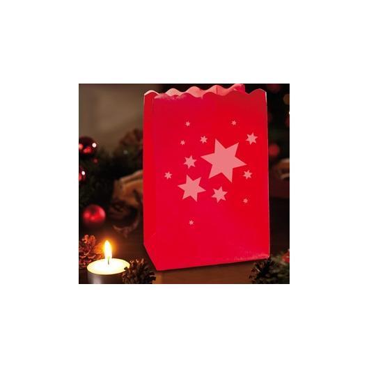Lanterna di carta rossa stella di Natale 4 unità piccole