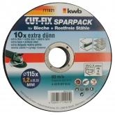 Juego de discos de corte CUT-FIX para metales.10 piezas KWB
