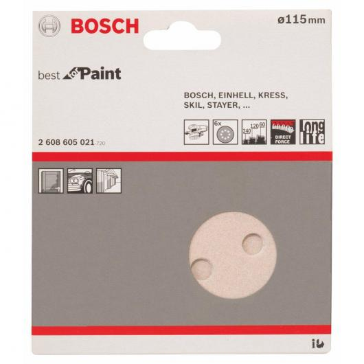 6 Fogli abrasivi per levigatrici eccentriche per pittura 115mm GR 60/120/240
