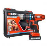 Taladro percutor sin cable 14,4V Litio + maletín Black&Decker
