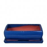 Vaso Kofun rettangolare azzurro + Piatto