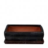 Vaso Kofun rectangular antracita + prato
