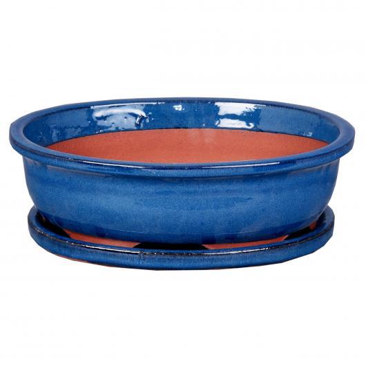 Vaso Asuka ovale azzurro + Piatto