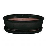Vaso Asuka oval cor antracita + prato
