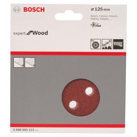 6 abrasifs pour ponceuses excentriques pour le bois 125 mm GR 60/120/240