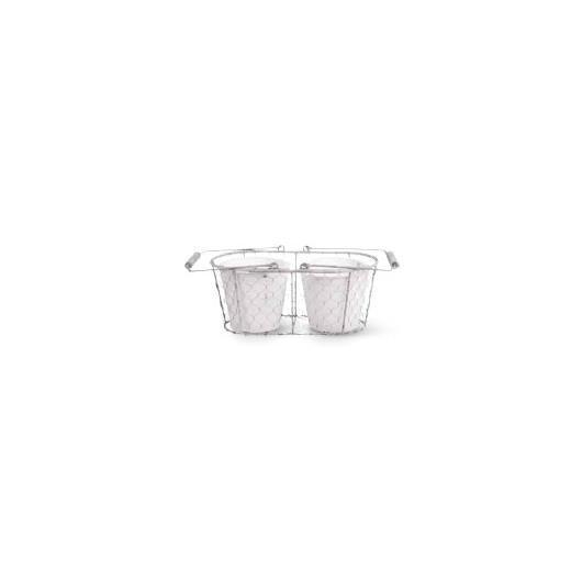 Cestello con due vasi di ceramica