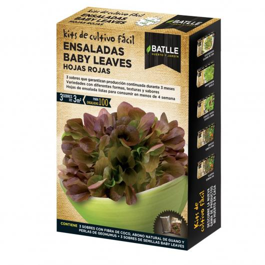 Paquet salade jeunes pousses feuilles rouges