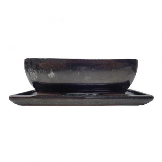 Vaso Seito reattangolare Verde scuro 20 cm + piatto