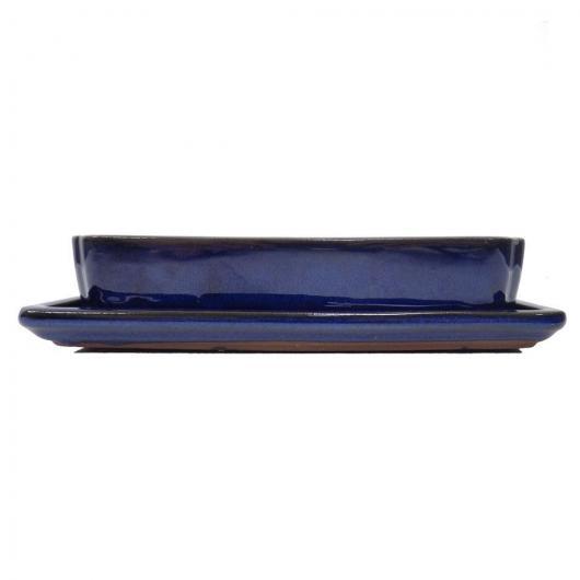 Tiesto SEITO rectangular bajo azul 20 cm + Plato