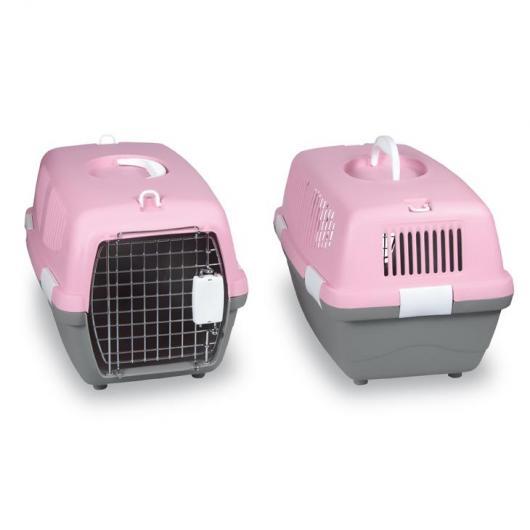 Cage de transport rose pour chiens
