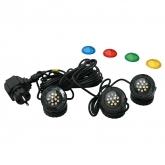 Set 3 Fari LED con lenti colorate