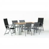 Set móveis jardim alumínio/tabuleiro Poliwood Denis 150/4