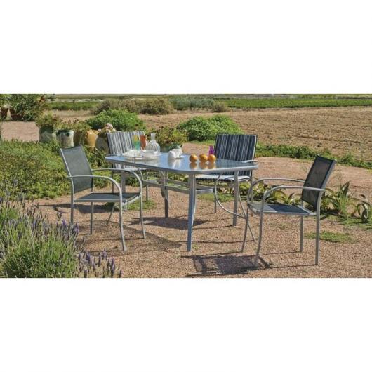 Set muebles jardín acero Antillas 150/4