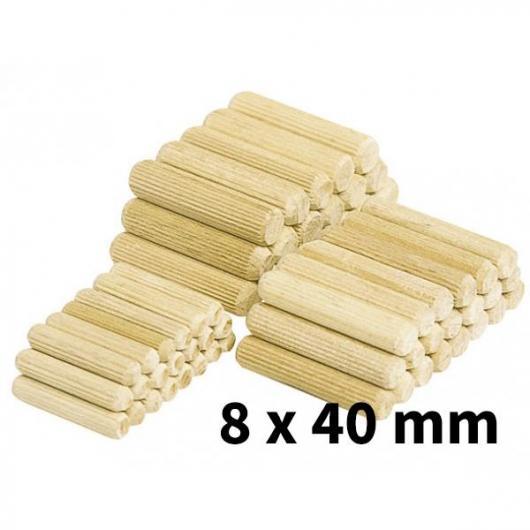Longues chevilles en bois de hêtre 8 x 40 mm 150 pièces Wolfcraft