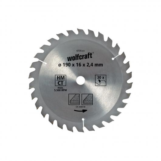 Wolfcraft 6739000 - 1 hoja de sierra circular HM, 20 dient., serie marrón Ø 160 x 16 x 2,4 mm