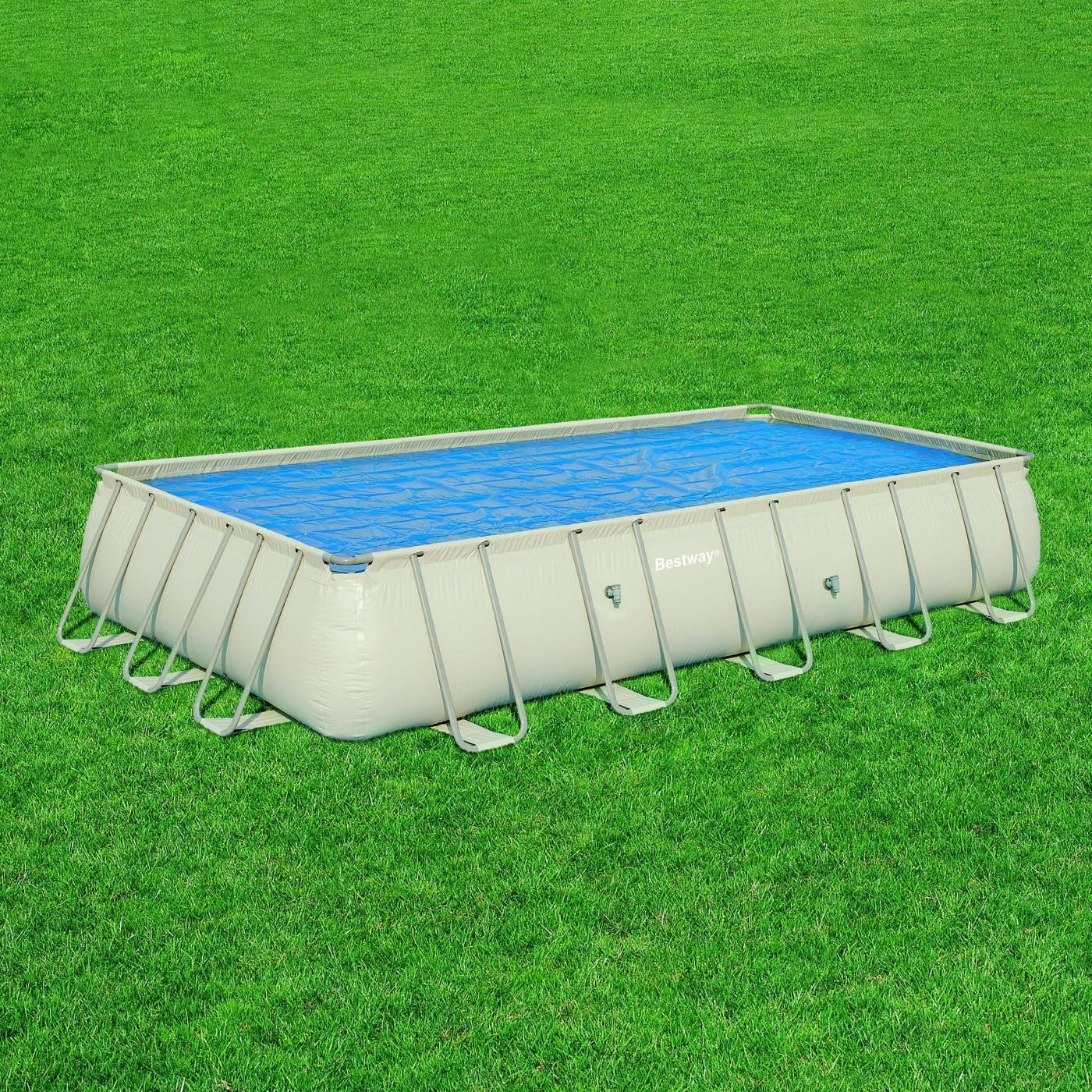 Cobertor solar para piscina rectangular frame 671 x 366 x for Piscinas bestway opiniones