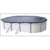 Bâche d'hiver ajustable pour piscine ovale en tôle