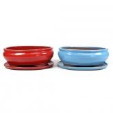 Vaso Basic oval vermelho com prato 30 cm