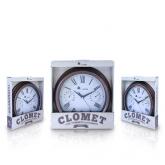 Relógio-termómetro e higrómetro de metal vintage