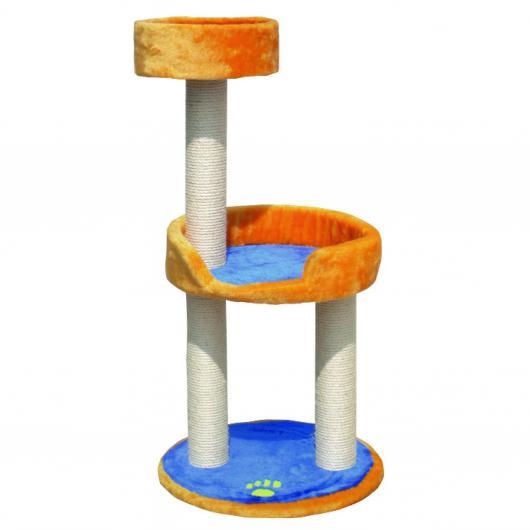 Jouet grattoir pour chats bleu et orange