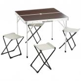 Mesa de campismo com 4 cadeiras desdobráveis, 85,5 x 80,5 x 69,5 cm