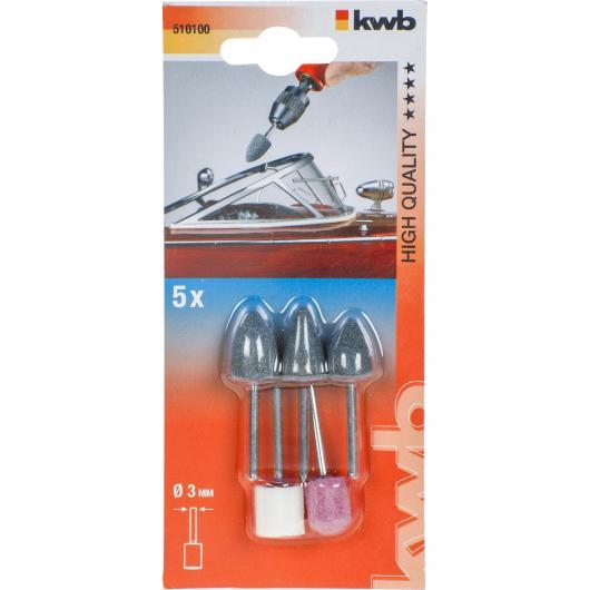 Juego de 5 muelas abrasivas cerámicas KWB para ejes flexibles y mini taladros