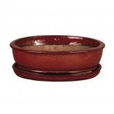 Vaso Asuka oval vermelho + Prato