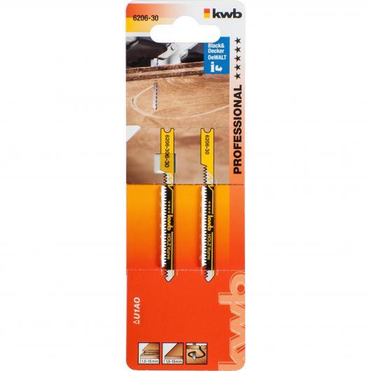 2 lames de scie sauteuse pour le bois 70/50 coupe incurvée KWB PRO