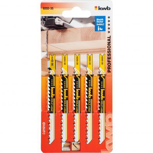 5 lames de scie sauteuse pour le bois 100/80 coupe moyenne KWB PRO Pack