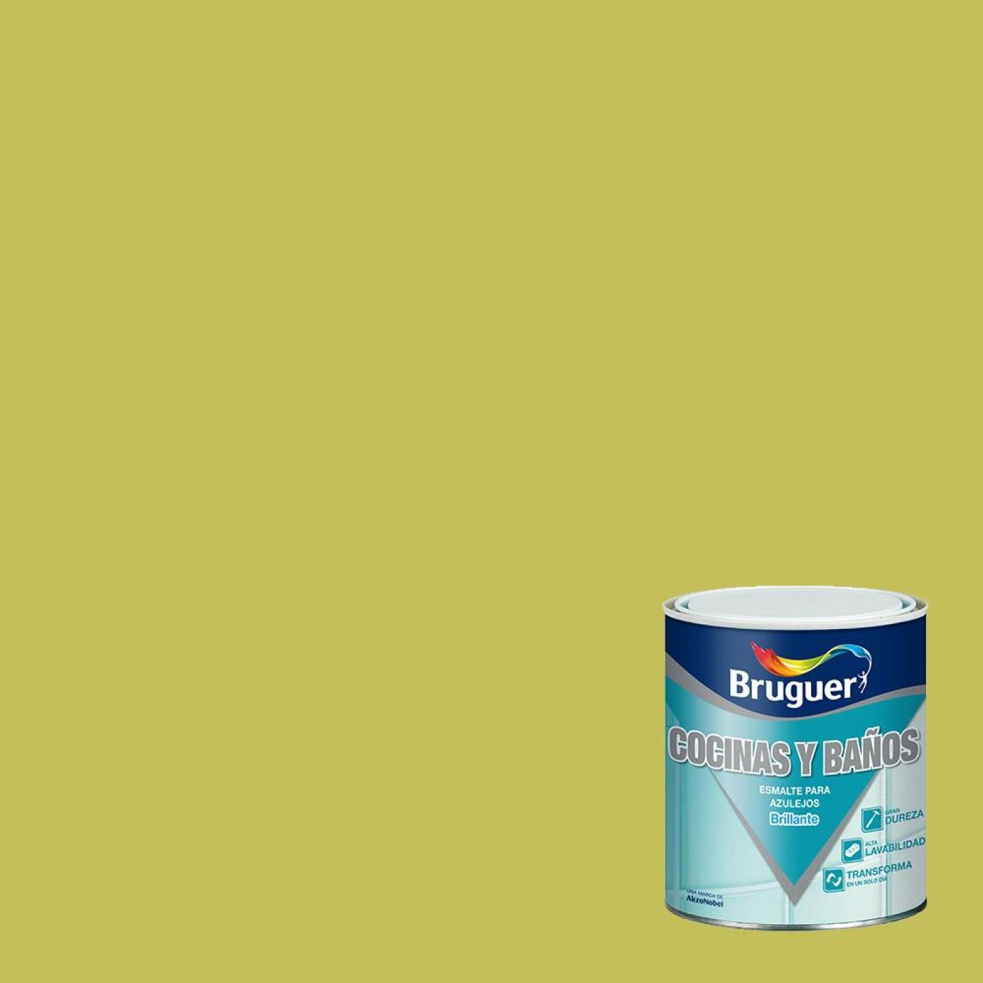 Azulejos Baño Verde Pistacho:Esmalte para azulejos brillante VERDE PISTACHO Bruguer 750 ml por 20