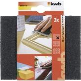 3 esponjas lijadoras / abrasivas para madera y metal GRANO FINO KWB