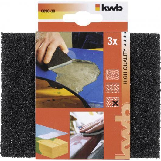 3 éponges de ponçage/abrasifs pour bois et métal GRAIN ÉPAIS KWB