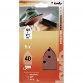 5 lixas para multilixadeira 107x175 mm KWB
