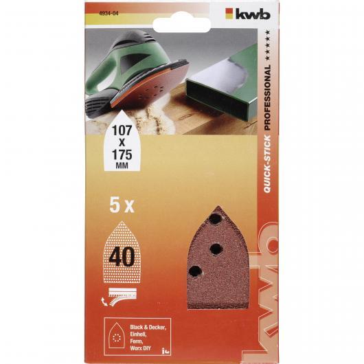 5 abrasifs pour ponceuse multifonction 107 x 175 mm KWB