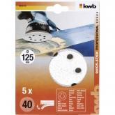5 discos para lixadeira excêntrica para madeira e laca ø 125 mm KWB