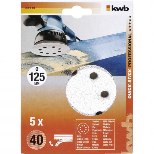 5 dischi per levigatrice eccentrica per legno ø 125 mm KWB