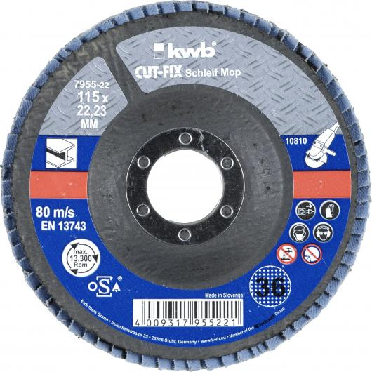 Disco de láminas abrasivas para metal para amoladora ø 115 x 22 mm GR 36 KWB CUT-FIX