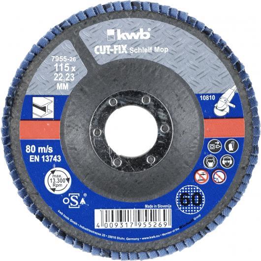Disque à lamelles abrasives pour métaux pour ponceuses Ø 115 x 22 mm GR 60 KWB CUT-FIX