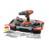 Kit perceuse à percussion à batterie 18 V + 150 accessoires et mallette Black & decker