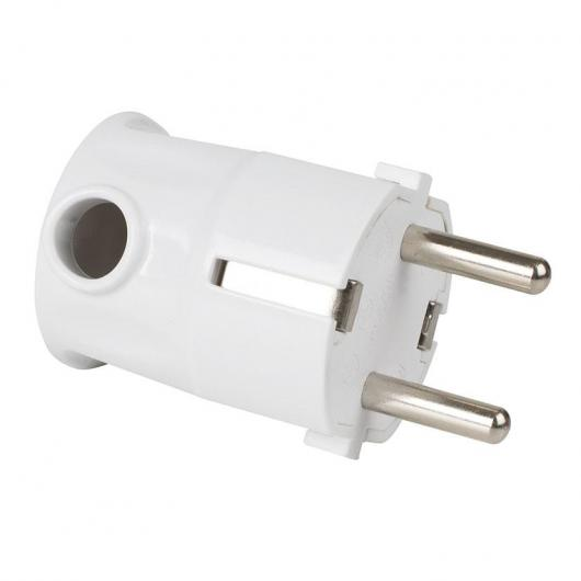 Clavija de enchufe acodada T/T lateral Blanco Duolec