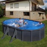 Série de piscinas Kea Oval 610 x 375 x 120 cm com postes laterais Gre