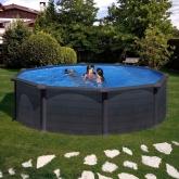 Série de piscinas Kea, Redonda Ø 460 X 120 cm com postes laterais, Gre