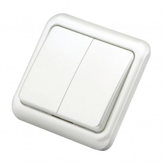 Doble conmutador empotrable Blanco Duolec