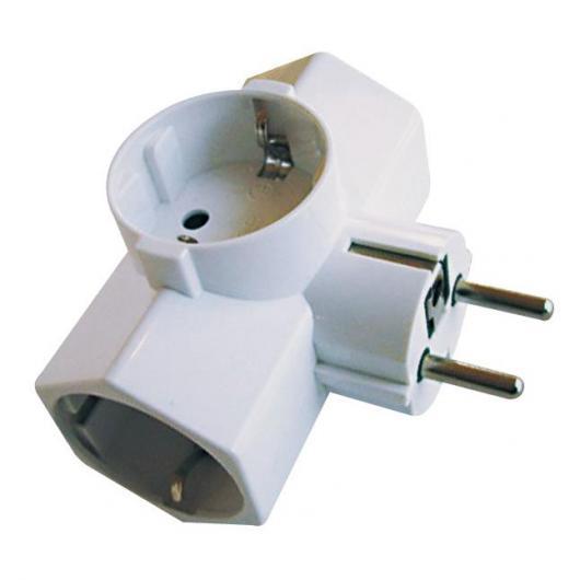 Fiche prise triple blanche avec sortie latérale 16 A 3500 W
